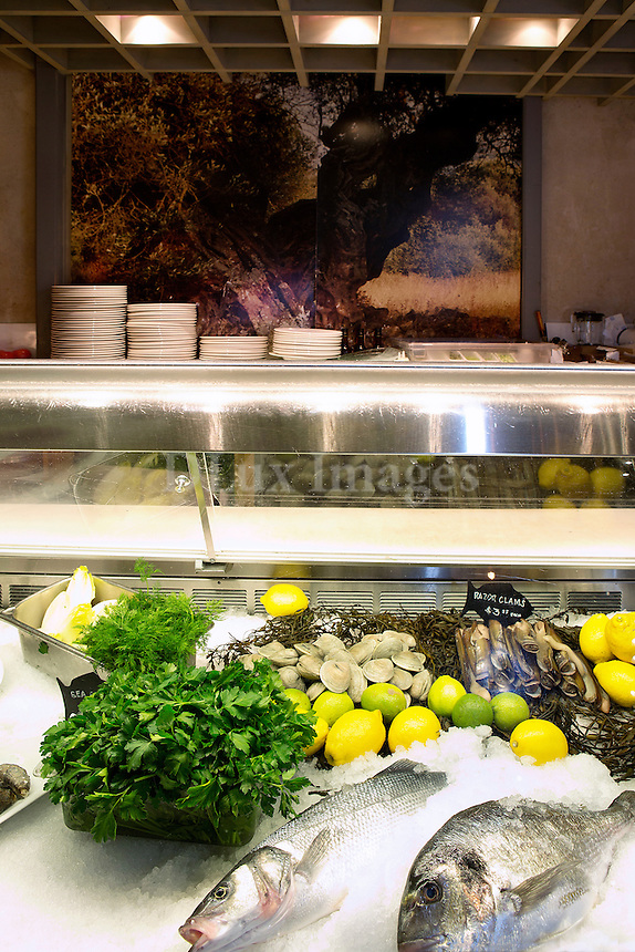 fresh fish on display at Milos Restaurant New York City