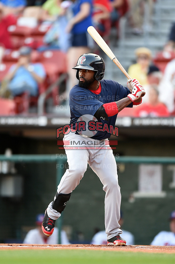 Pawtucket Red Sox outfielder Jackie Bradley Jr. (30) at bat during a game against the Buffalo Bisons on August 23, 2014 at Coca-Cola Field in Buffalo, New  York.  Buffalo defeated Pawtucket 15-2.  (Mike Janes/Four Seam Images)