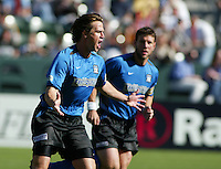 Ronnie Ekelund celebrates after scoring a goal against the Chicago Fire in the 2003 MLS Championship, in Carson, Calif.
