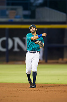 AZL Mariners second baseman Manny Pazos (21) on defense against the AZL Royals on July 29, 2017 at Peoria Stadium in Peoria, Arizona. AZL Royals defeated the AZL Mariners 11-4. (Zachary Lucy/Four Seam Images)