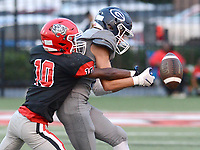 Fort Smith Northside's Zavian Zeffer (10) breaks up a pass intended for Greenwood's LJ Robins (11) on Friday, Sept. 10, 2021 in Fort Smith. (Special to NWA Democrat Gazette/Brian Sanderford)