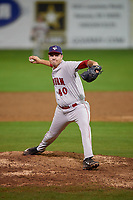 Auburn Doubledays relief pitcher David Smith (40) delivers a pitch during a game against the Batavia Muckdogs on September 6, 2017 at Dwyer Stadium in Batavia, New York.  Auburn defeated Batavia 6-3.  (Mike Janes/Four Seam Images)