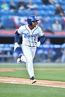 Asheville Tourists third baseman Enmanuel Valdez (2) runs to first base during a game against the Brooklyn Cyclones on May 7, 2021 at McCormick Field in Asheville, NC. (Tony Farlow/Four Seam Images)