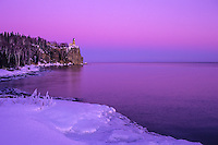 """""""Pink Sky At Split Rock Lighthouse""""<br /> <br /> The beautiful pastel pink of the twilight sky completes a pleasant winter hike in Split Rock Lighthouse State Park."""