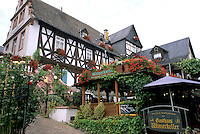Germany Rudesheim Old Town by Rhine River tourist restaurant Winzerkeller