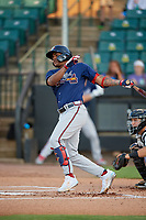 Mississippi Braves Cristian Pache (16) bats during a Southern League game against the Jackson Generals on July 23, 2019 at The Ballpark at Jackson in Jackson, Tennessee.  Mississippi defeated Jackson 1-0 in the second game of a doubleheader.  (Mike Janes/Four Seam Images)