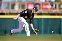 Pittsburgh Pirates second baseman Erich Weiss (81) fields a ground ball during a Spring Training game against the Tampa Bay Rays on March 10, 2017 at LECOM Park in Bradenton, Florida.  Pittsburgh defeated New York 4-1.  (Mike Janes/Four Seam Images)