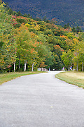 Franconia Notch State Park - The old U.S. Route 3 bridge which crosses over Lafayette Brook in the White Mountains, New Hampshire USA during the  late summer months. This bridge is closed to traffic and is part of the multi-use Franconia Notch Bike Path.