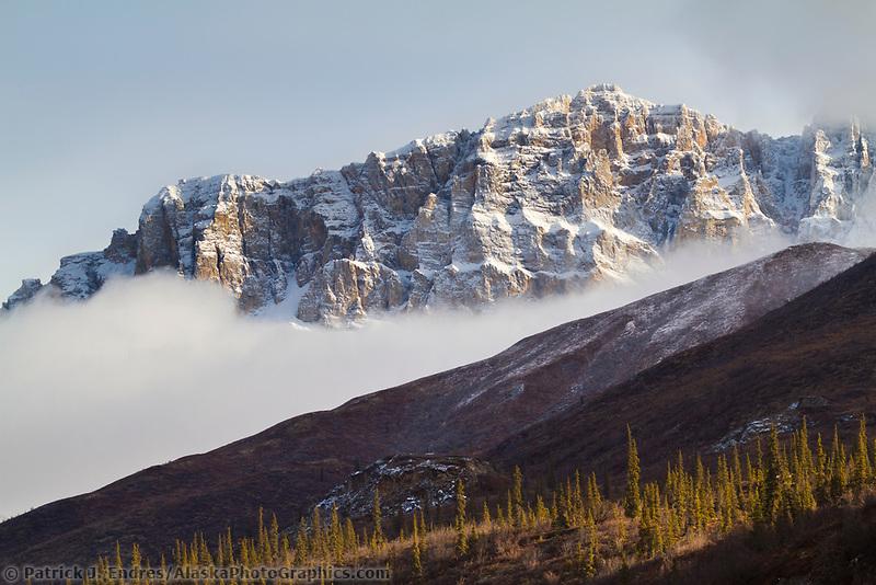 Snow covered Brooks Range mountains, Arctic, Alaska