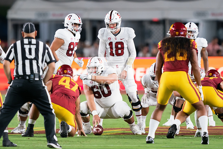 LOS ANGELES, CA - SEPTEMBER 11: Bradley Archer, Drake Nugent, Tanner McKee during a game between University of Southern California and Stanford Football at Los Angeles Memorial Coliseum on September 11, 2021 in Los Angeles, California.