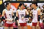(L-R) Mai Yamaguchi, Haruka Miyashita, Miyu Nagaoka (JPN), AUGUST 26, 2015 - Volleyball : FIVB Women's World Cup 2015 1st Round between Japan 3-0 Kenya  in Tokyo, Japan. (Photo by Sho Tamura/AFLO SPORT)