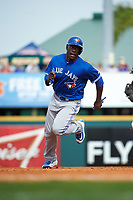 Toronto Blue Jays designated hitter Anthony Alford (75) running the bases during a Spring Training game against the Pittsburgh Pirates on March 3, 2016 at McKechnie Field in Bradenton, Florida.  Toronto defeated Pittsburgh 10-8.  (Mike Janes/Four Seam Images)