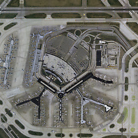aerial photograph of the terminal area of Chicago O'Hare International Airport (ORD), Chicago, Illinois