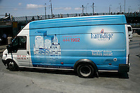 Van advertising the Turkish make of Hamidiye mineral water at Eminonu, Istanbul, Turkey