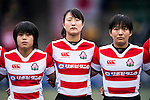 Chikami Inoue (c) and Ano Kuwai of Japan (l) during the Womens Rugby World Cup 2017 Qualifier match between Hong Kong and Japan on December 17, 2016 in Hong Kong, Hong Kong. Photo by Marcio Rodrigo Machado / Power Sport Images