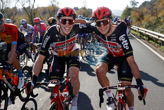 Lotto-Soudal riders have time for a chat during Stage 10 of the Vuelta Espana 2020 running 187.4km from Castro Urdiales to Suances, Spain. 30th October 2020.    <br /> Picture: Luis Angel Gomez/PhotoSportGomez | Cyclefile<br /> <br /> All photos usage must carry mandatory copyright credit (© Cyclefile | Luis Angel Gomez/PhotoSportGomez)