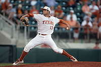 Texas Longhorns  pitcher Kirby Bellow #13 delivers during the NCAA baseball game against the Central Arkansas Bears on April 24, 2012 at the UFCU Disch-Falk Field in Austin, Texas. The Longhorns beat the Bears 4-2. (Andrew Woolley / Four Seam Images).