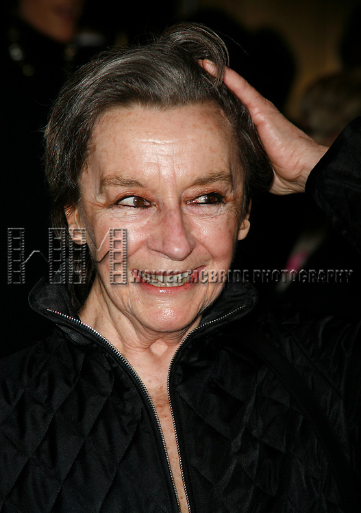 Zoe Caldwell arriving for the Opening Night performance of FROST NIXON at the Bernard B. Jacobs Theatre in New York City.<br />