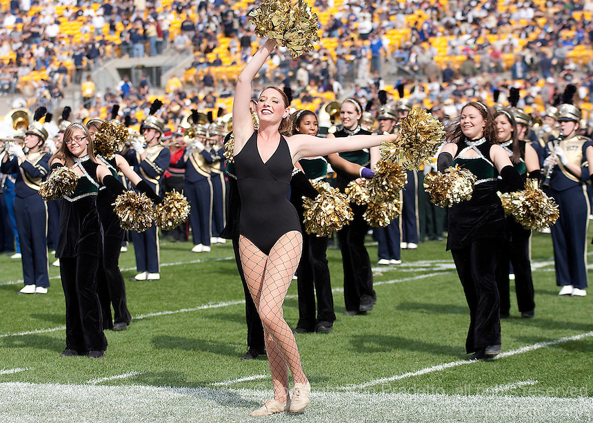 A Pitt majorette performs at halftime. The Pittsburgh Panthers defeated the Rutgers Scarlet Knights 41-21 on October 23, 2010 at Heinz Field, Pittsburgh, Pennsylvania....