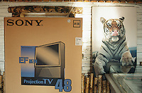 China. Province of Heilongjiang. Harbin. Siberia Tiger Park. Tourist shop. A Sony Television Set still in its original package and a picture of  a tiger.© 2004 Didier Ruef