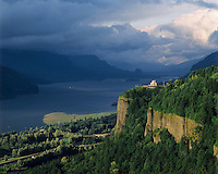 Columbia River Gorge, Crown Point, OR.  Evening as spring storm breaks up.