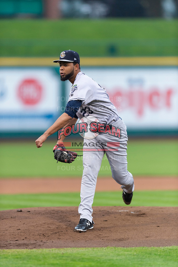 Kane County Cougars starting pitcher Bryan Valdez (23) during a Midwest League game against the Fort Wayne TinCaps at Parkview Field on April 30, 2019 in Fort Wayne, Indiana. Kane County defeated Fort Wayne 7-4. (Zachary Lucy/Four Seam Images)