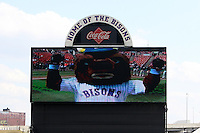 Buffalo Bisons mascot featured on the teams new scoreboard before a game against the Syracuse Chiefs at Dunn Tire Park on April 7, 2011 in Buffalo, New York.  Syracuse defeated Buffalo 8-5.  Photo By Mike Janes/Four Seam Images