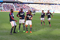 HARRISON, NJ - Sunday November 23, 2014: The New York Red Bulls lose 2-1 to the New England Revolution at Red Bull Arena in the first leg of the Eastern Conference Finals of the MLS Cup Playoffs.  The New England Revolution celebrate their first goal by Teal Bunbury in the 17th minute.