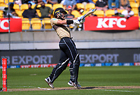 NZ's Mark Chapman bats during the 5th international men's T20 cricket match between the New Zealand Black Caps and Australia at Sky Stadium in Wellington, New Zealand on Sunday, 7 March 2021. Photo: Dave Lintott / lintottphoto.co.nz