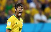 Neymar of Brazil shouts in frustration