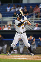 West Virginia Black Bears outfielder Casey Hughston (17) at bat during a game against the Batavia Muckdogs on August 31, 2015 at Dwyer Stadium in Batavia, New York.  Batavia defeated West Virginia 5-4.  (Mike Janes/Four Seam Images)