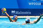 Angelos Vlachopoulos in action during game between Turkey versus  Greece LEN European Water Polo Championships, Barcelona 16.07.2018