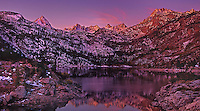 920000008 panoramic view of sunrise lighting up the top peaks of the sierras above lake sabrina in the high sierras west of bishop in central california