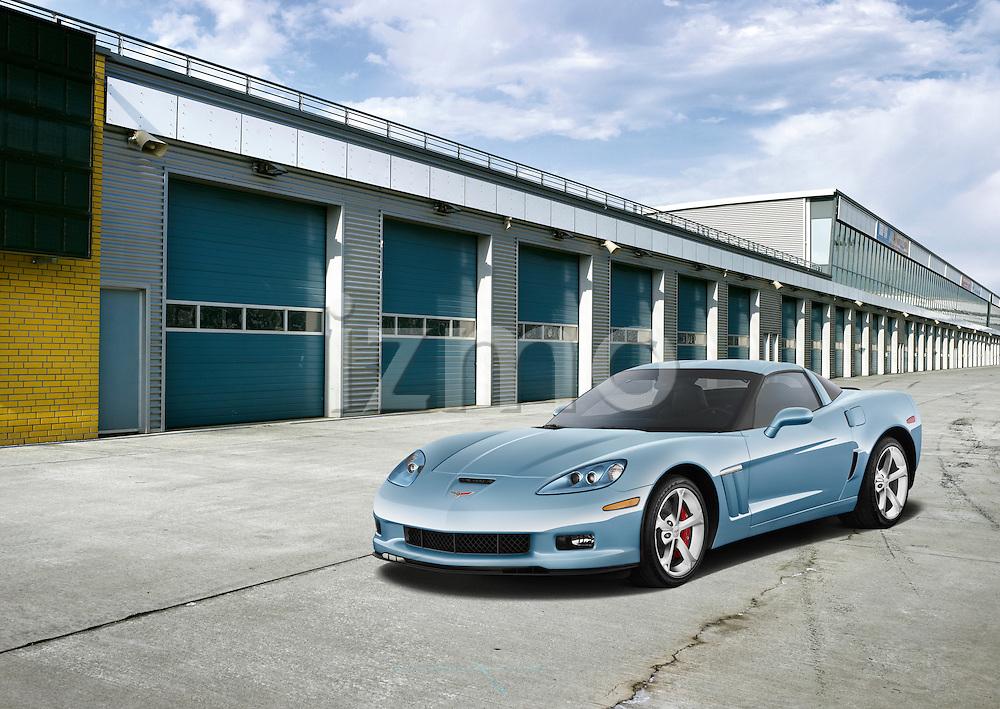 One blue 2012 Chevrolet Corvette GS Coupe at a pit stop lane.