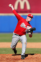 Ohio State Buckeyes Brett McKinney #28 during a game vs. the Illinois State Redbirds at Chain of Lakes Park in Winter Haven, Florida;  March 11, 2011.  Illinois defeated Ohio State 12-1.  Photo By Mike Janes/Four Seam Images