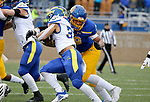 BROOKINGS, SD - MAY 8: Quinton Hicks #48 of the South Dakota State Jackrabbits wraps up Dejoun Lee #33 of the Delaware Fightin Blue Hens on May 8, 2021 in Brookings, South Dakota. (Photo by Dave Eggen/Inertia)