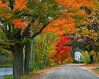 USA, New Hampshire, Road lined in fall color in the town of Andover in Merrimack County