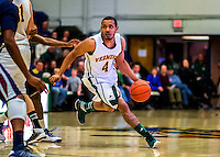 22 December 2012: University of Vermont Catamount guard Trey Blue, a Senior from Chicago, IL, in action against the University of Fairleigh Dickinson Knights at Patrick Gymnasium in Burlington, Vermont. The Catamounts defeated the Knights 76-62 in non-conference men's basketball action and notching their 7th win of the season. Mandatory Credit: Ed Wolfstein Photo