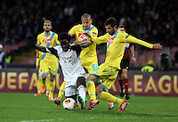 Thursday 27 February 2014<br /> Pictured L-R: Wilfried Bony of Swansea is challenged by Raul Albiol of Napoli <br /> Re: UEFA Europa League, SSC Napoli v Swansea City FC at Stadio San Paolo, Naples, Italy.