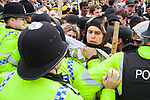 © Joel Goodman - 07973 332324 - all rights reserved . 05/06/2010 . Cardiff , UK . Police separate anti-fascist demonstrators from WDL protesters . The Welsh Defence League (an offshoot of the English Defence League ) hold a march and rally in Cardiff , opposed by anti-fascist groups including Unite Against Fascism . Photo credit : Joel Goodman