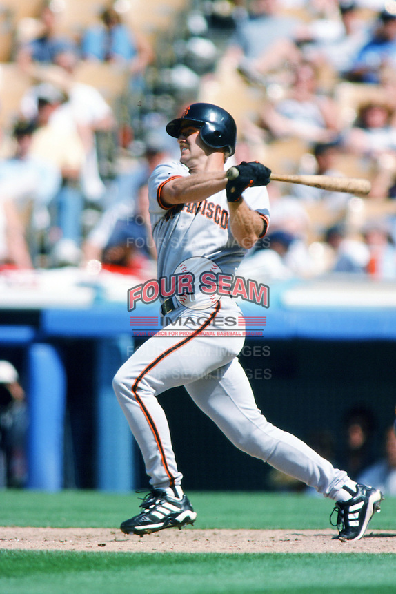 Jeff Kent of the San Francisco Giants bats during a 1999 Major League Baseball season game against the Los Angeles Dodgers at Dodger Stadium in Los Angeles, California. (Larry Goren/Four Seam Images)