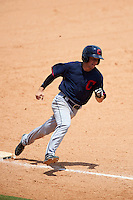 Cory Wood (2) of Sanderson High School in Raleigh, North Carolina playing for the Cleveland Indians scout team during the East Coast Pro Showcase on July 30, 2015 at George M. Steinbrenner Field in Tampa, Florida.  (Mike Janes/Four Seam Images)
