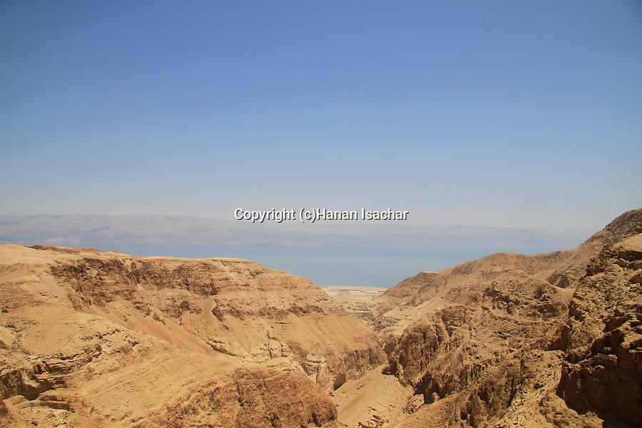 Nahal Darga in the Judean desert overlooking the Dead Sea