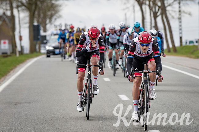 Matteo Trentin (ITA/UAE-Emirates) in the first bunch<br /> <br /> 83rd Gent-Wevelgem - in Flanders Fields (ME - 1.UWT)<br /> 1 day race from Ieper to Wevelgem (BEL): 254km<br /> <br /> ©kramon