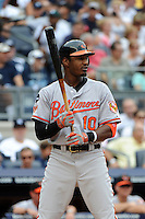 Baltimore Orioles outfielder Adam Jones #10 during game against the New York Yankees at Yankee Stadium on September 5, 2011 in Bronx, NY.  Yankees defeated Orioles 11-10.  Tomasso DeRosa/Four Seam Images