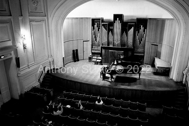 Moscow, Russia  .1998.Anna Skryleva, a 23-year-old concert pianist student at Moscow's Tchaikovsky conservatory, takes a bow to a small audience who attended the performance of a number of artists during the evening..