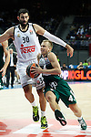 Basketball Real Madrid´s Bourousis (L) and Zalgiris Kaunas´s Lekavicius during Euroleague basketball match in Madrid, Spain. October 17, 2014. (ALTERPHOTOS/Victor Blanco)