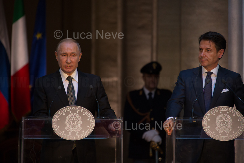 (From L to R) Vladimir Putin and Giuseppe Conte.<br /> <br /> Rome, 04/07/2019. Today, the four-time President of the Russian Federation, Vladimir Putin, visited Palazzo Chigi (Official Residence of the Italian Prime Minister and official meeting place of the Council of the Ministers) where he had a private meeting and a press conference with the Italian Prime Minister, Giuseppe Conte. During his visit to Italy, President Putin met Pope Francis, the President of the Italian Republic, Sergio Mattarella, and his old friend and Italian politician, Silvio Berlusconi.<br /> <br /> Footnotes and Links:<br /> For a Video of the Press Conference please click here (Source, Palazzo Chigi on Youtube): https://youtu.be/4Bdssi0L9PI