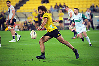 Orbyn Leger kicks during the Super Rugby Tran-Tasman match between the Hurricanes and Rebels at Sky Stadium in Wellington, New Zealand on Friday, 21 May 2020. Photo: Dave Lintott / lintottphoto.co.nz