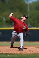 Arizona Diamondbacks pitcher Austin Mason (25) during an instructional league game against the Los Angeles Angels / Chicago Cubs co-op team on October 9, 2015 at the Tempe Diablo Stadium Complex in Tempe, Arizona.  (Mike Janes/Four Seam Images)
